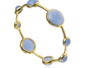 Blue Chalcedony Bangle - Stackable Bangles - Gemstone Bangles - Gemstone Bracelet - Gold Bangles - Birthstone Bangles - Birthstone Bracelet