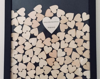 Personalised Wedding drop box guest book / wooden hearts / guestbook / dropbox guestbook / drop box guest book