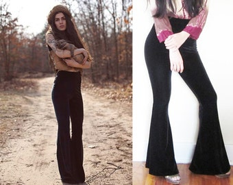 Black Velvet Stretch High Waist Bellbottom Flare Pants Custom Made To Order