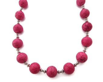 Chunky Pink Necklace, Pink Beaded Necklace, Pink Turquoise Necklace, Bright Pink Necklace, Pink Stone Necklace, Southwest, Fuchsia Necklace