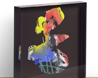 """Painting """"Funny"""" as print in acrylic block 15 signed specimens art object in 2 sizes"""