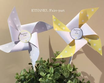 Set of 8 pinwheels wind baptism stars yellow and gray