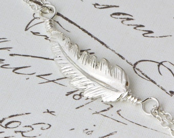 Sterling Silver Feather Necklace, Nature Jewelry, Silver Feather Jewelry, Boho Necklace, Feather Charm, Sterling Feather