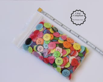 6 oz. Variety Pack of CPSC Compliant Buttons-Random assortment of sizes, shapes and colors. FREE SHIPPING!