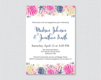 Beach Themed Engagement Party Invitation Printable or Printed - Pink and Navy Nautical Engagement Party Invitations - Nautical Party 0012-N