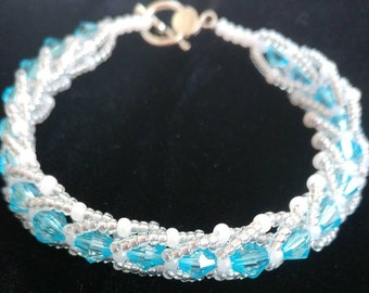 Bicone and seed bead bracelet