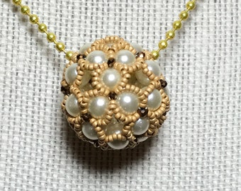 Beaded Ball Pendant Beaded Ball Necklace White Ball Necklace Pearl Ball Necklace Beaded Bead Pendant Gold Beaded Pendant Beadwork Pendant