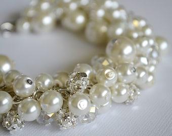 Ivory cluster bracelet, rhinestone bracelet, ivory bridal bracelet, pearl chunky bracelet, crystal and rhinestone bracelet, pearl jewelry