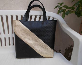 black and gold faux leather tote bag