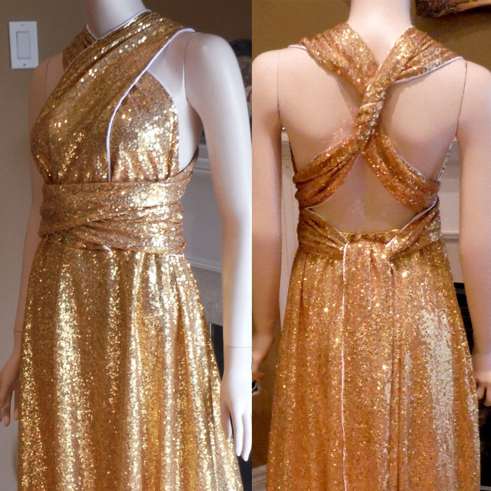 Gold sequin bridesmaid dress convertible bridesmaid dress zoom ombrellifo Gallery