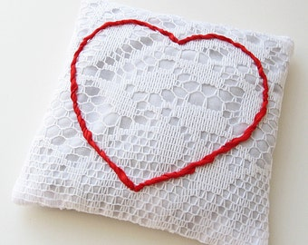 Red heart lavender sachet, white lace sachet, embroidered heart, silk ribbon embroidery, Valentine's Day, mini ring pillow, scented sachet