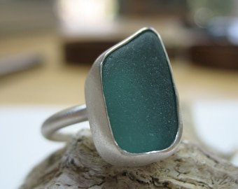 Teal Sea Glass Ring, Sterling Silver Beach Glass Jewelry, Statement Handcrafted Resort Jewelry, Beach Wedding