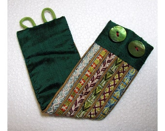 Hand Embroidered Rich Multi-Colored Cuff with Green
