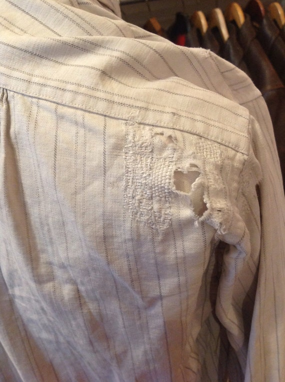 Vintage 1900s early 20th century striped cotton pop over work chore shirt spear point 15