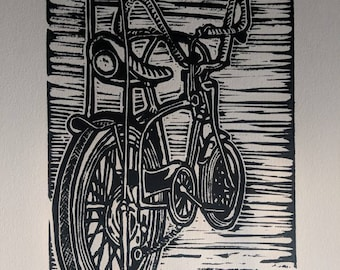 Vintage Schwinn Art Print, Vintage Schwinn Linoprint, Bike Art