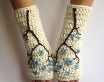 Fingerless Gloves with Cherry Blossom Embroidery, Wool Armwarmers, Wool Gloves, Sakura, Cream, Blue, Flower, Texting Gloves - MADE TO ORDER