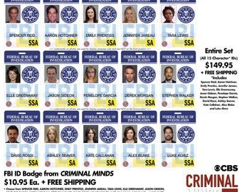 Criminal Minds (TV Series) ID Badge Set OR Individually