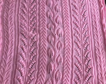 Hand Knit Pink Cables & Blossoms Blanket