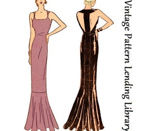 1931 Ladies Evening Gown With Center Back Band - Reproduction Sewing Pattern #T5902
