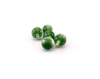 Set of 5 beads glitter dark green