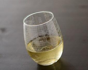Denver Maps Stemless Wine Glass