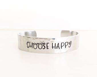Choose Happy, Happy Jewelry, Inspirational Jewelry, Motivational Jewelry, Quote Bracelet, Inspiration Bracelet, Happiness jewelry