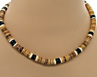 Surfer SUP Necklace 8mm Dia. Coconut Beads 18 Inch Length 7032B