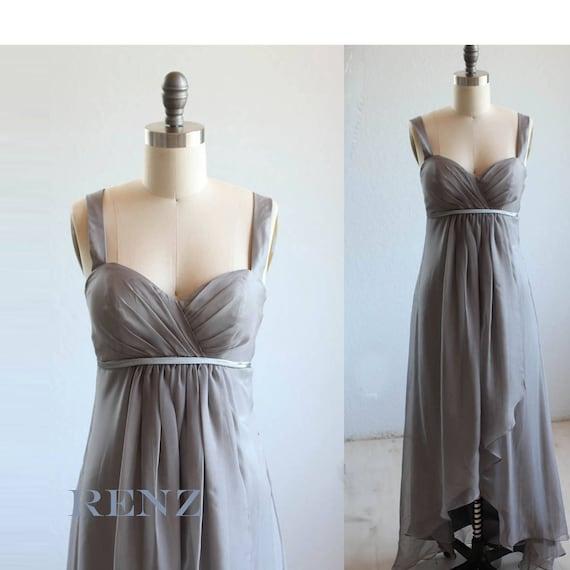 Grey High Low Bridesmaid Dresses