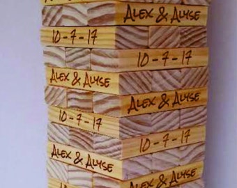 Wedding Guest Book Alternative - Wooden Blocks - Personalized Wedding Guest Book -Bridal Shower-  Business Promotion - Graduation Keepsake