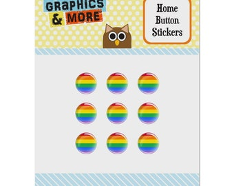 Rainbow pride gay lesbian contemporary set of 9 puffy bubble home button stickers fit apple ipod touch, ipad air mini, iphone 5/5c/5s 6/6s 7