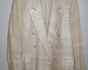 custom made men's raw silk double breasted blazer 1980's 43L