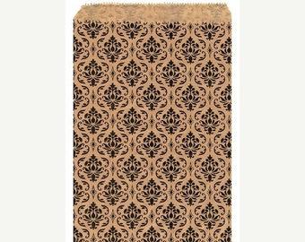 TAX SEASON Stock up 100 Pack 8 X 10 Inch kraft Color Damask print Flat Paper Merchandise Bags