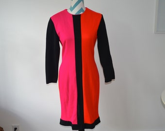 Vintage Color Blocked Long Sleeved Dress - Mondrian Style - Sheri Martin Deadstock - Bright Pink Orange Black Shift - Size 10