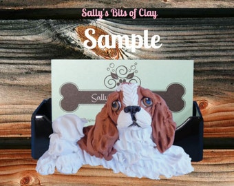 Blenheim Cavalier King Charles Spaniel Business Card Holder / Iphone / Cell phone / Post it Notes OOAK sculpture by Sally's Bits of Clay