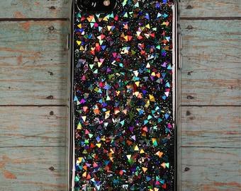 Rainbow Triangle Glitter Phone Case, Holographic Phone Case, Samsung Galaxy S8 Case, iPhone 7 Case, iPhone 8 Case, Google Pixel Case