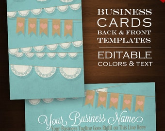 Burlap business card etsy diy business card template doilie burlap bunting banner premade business card design files diy text reheart Gallery