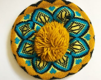 Vintage Mustard Yellow Knit Beret with Giant Pom and Fair Isle Blue and Black Pattern
