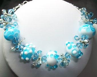 Swarovski Crystal and Lamp work Beaded Bracelet       SRAJD     handmade  OOAK    gift   birthday