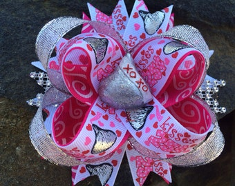 Valentine's Kisses Sparkle Bling Boutique Resin Hairbow