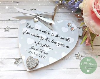 Wedding Sign Anniversary Plaque  Personalised Keepsake Heart