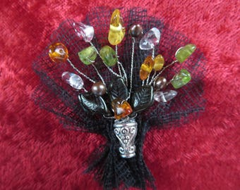 Smart brooch with amber peridot and rock crystal Baroque pearls