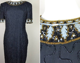 1980s formal dress sequins black prom sequined 80s eighties - vintage party dress