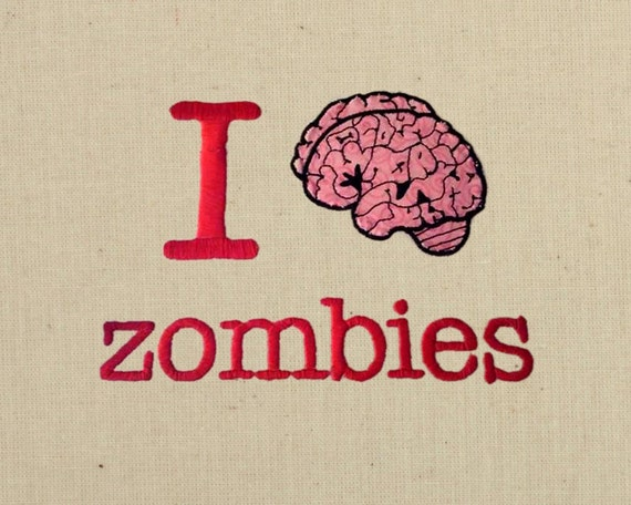 Ich Gehirn Zombies Applique Stickdatei Design