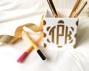 Monogram Custom Pencil Cup Holder, Pencil Cup, Office Supplies