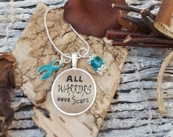 TE-2 PCOS Necklace Cervical Cancer Awareness Ovarian Cancer Jewelry Tourettes Warrior Jewelry Gift For Her All Warriors Have Scars Charm