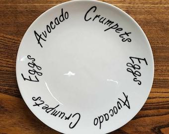 Personalised Custom Dinner Plate Side Plate Diet Plate Clean Eating Plate Personalised Gift Best Friend Present Hand Painted Plate