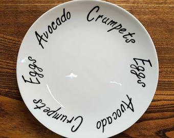 Personalised Custom Dinner Plate Side Plate Diet Plate Clean Eating Plate Personalised Gift Best Friend Present Hand Painted Plate & Personalised plate | Etsy