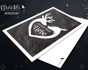 """Weihnachtskarte/ Postkarte / Karte / Weihnachtsgrüße """"Schenkt Euch Liebe"""""""