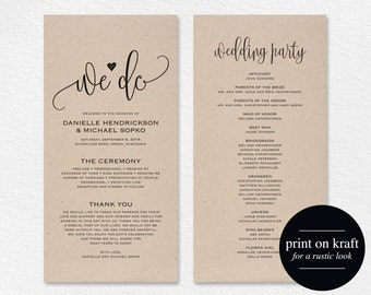 Wedding Program Template, Wedding Program Printable, We Do, Ceremony Printable Template - PDF Instant Download, Kraft, DIY #BPB203_3