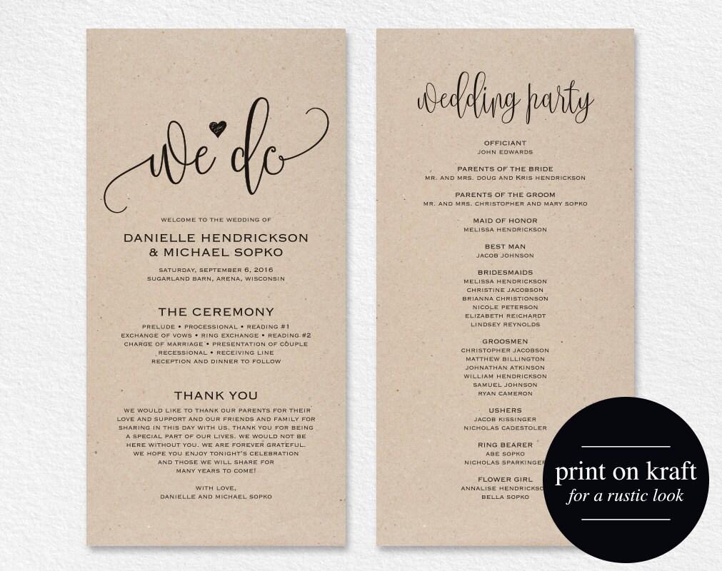wedding ceremony programs samples